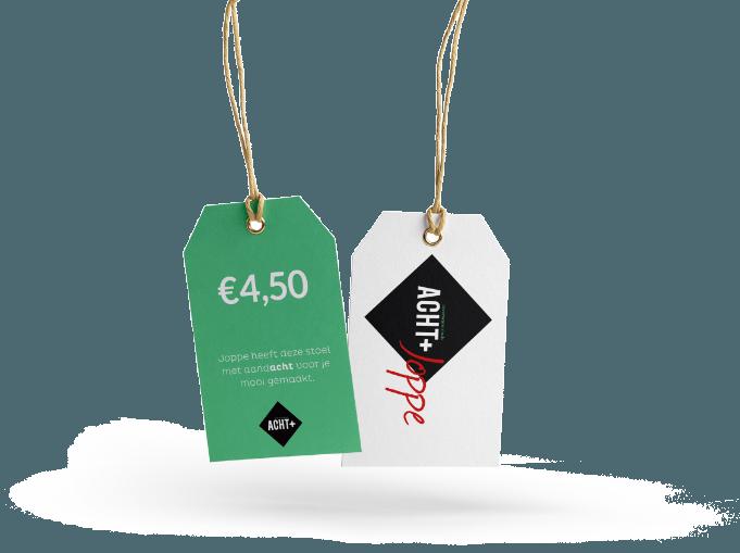 Branding winkelconcept Acht+ toegepast op prijskaartjes